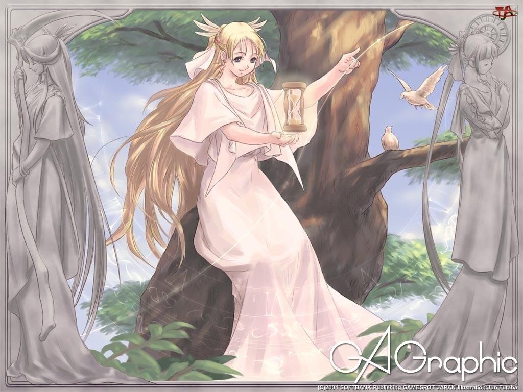 klepsydra, Ga Graphic, drzewo, kobieta, ptaki