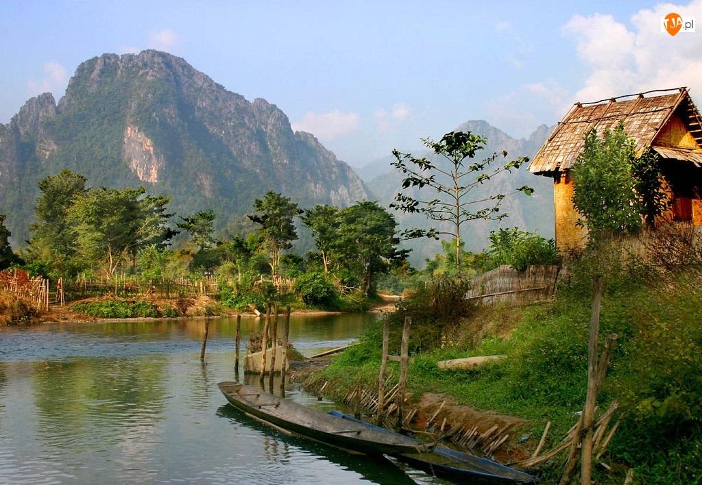 Rzeka, Chatka, Laos, Czółna