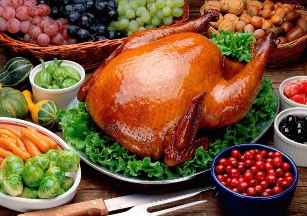 Pieczony, Warzywa, Kurczak, Owoce