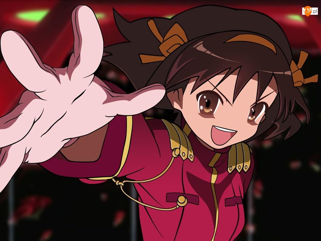 różowy strój, Suzumiya Haruhi No Yuuutsu, ręka