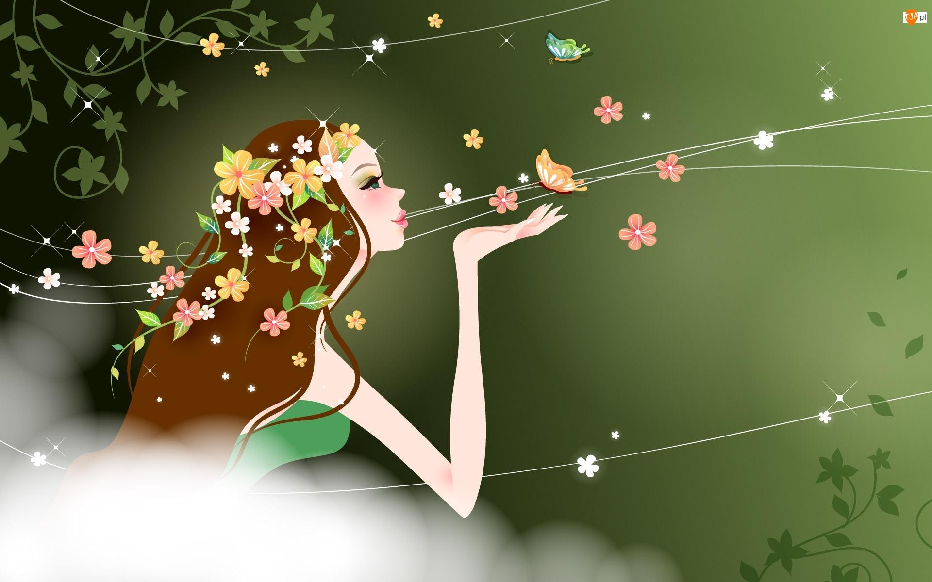 Mgła, Kwiatki, Piękna, Włosy, Kobieta, Kolorowe