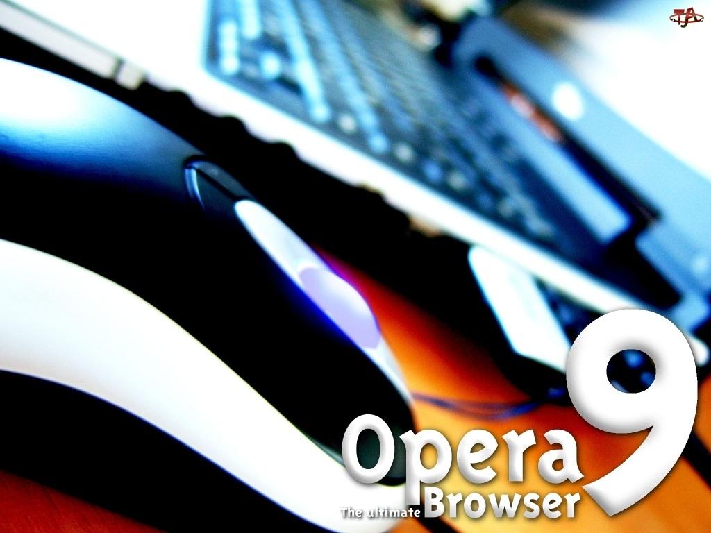 laptop, Opera, klawiatura, myszka