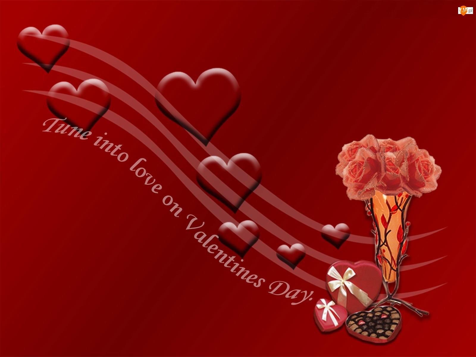 Bukiecik, Walentynki, Czerwone, Miłość, Serduszka, Róż