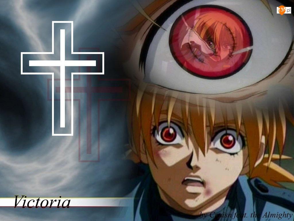 Hellsing, krzyż, oko, twarz