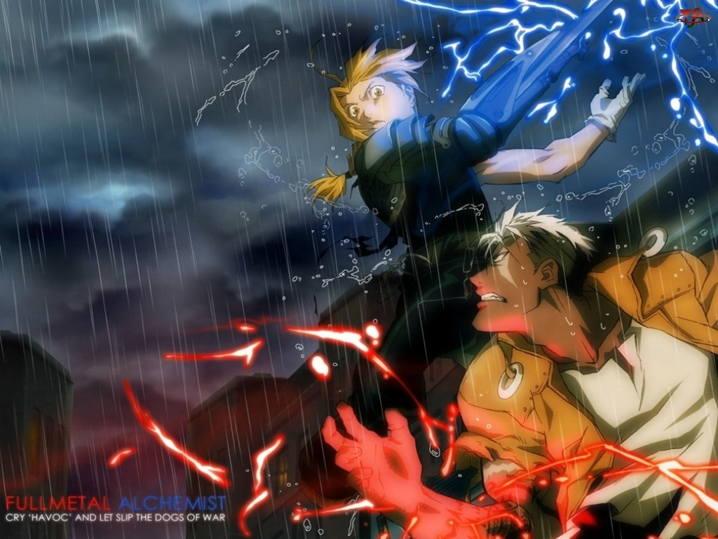 Full Metal Alchemist, deszcz, ludzie, walka