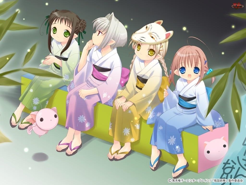 Bottle Fairy, kimona, kotek, dziewczyny