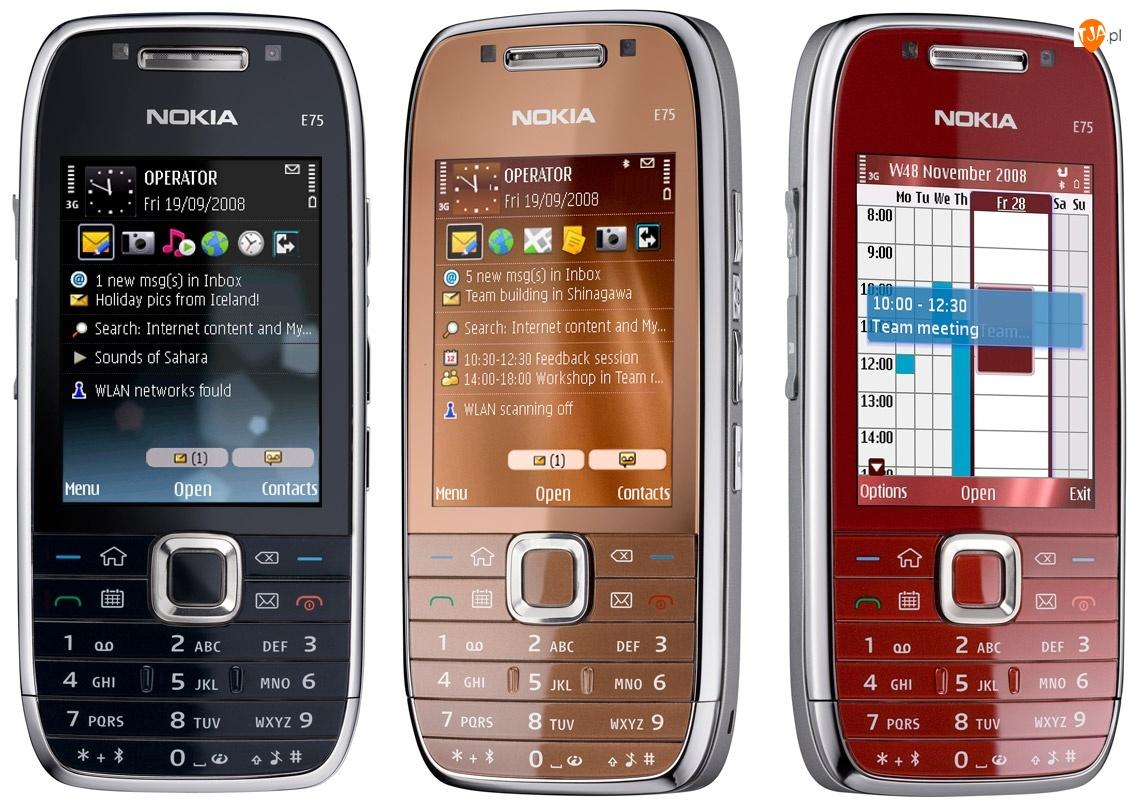 Nokia E75, Wiśniowy, Czarny, Brązowy