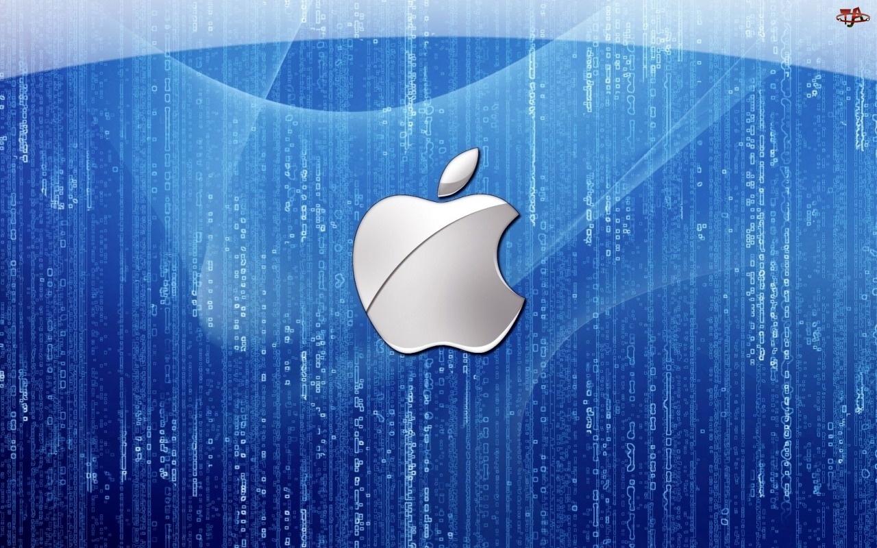Apple, Niebieskie, Srebrne, Tło, Logo