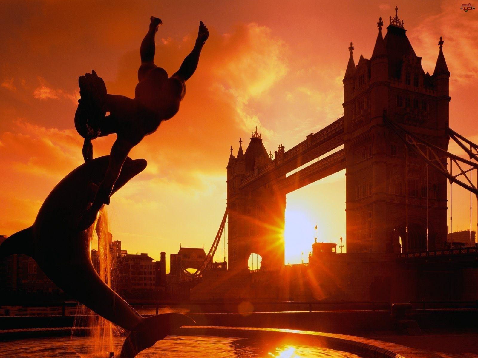 Tower, Słońca, Londyn, Zachód