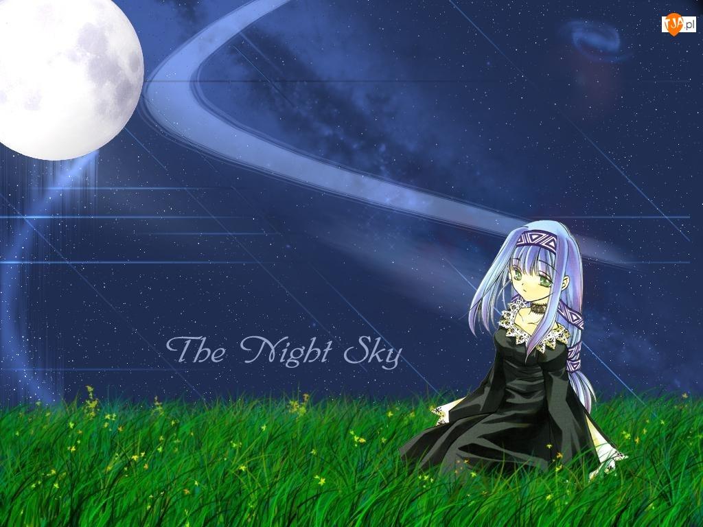 galaktyka, gwiazdy, Erementar Gerad, dziewczyna, łąka, księżyc