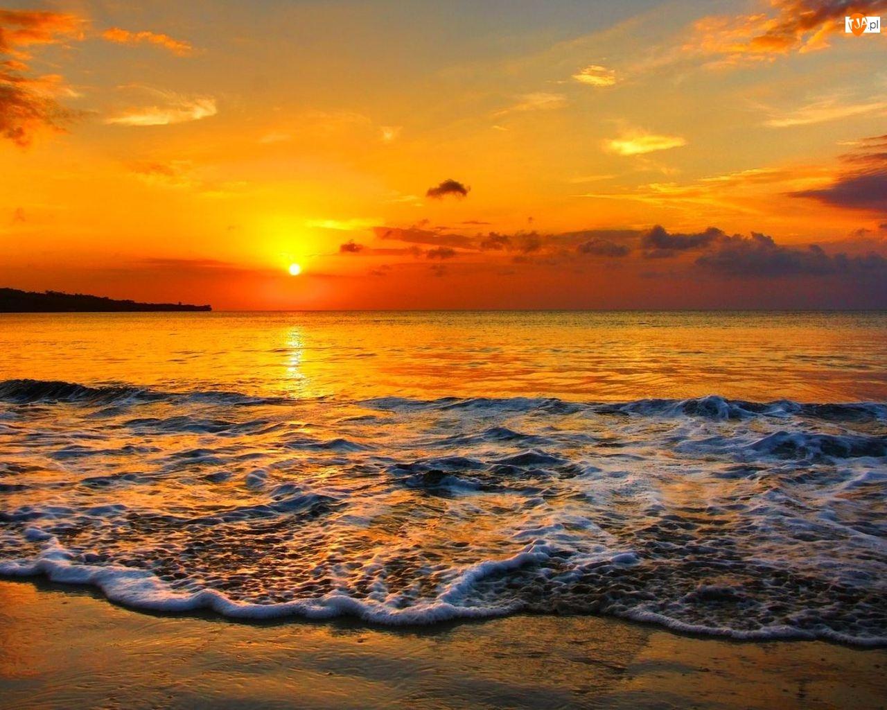 Plaża, Słońca, Morze, Zachód