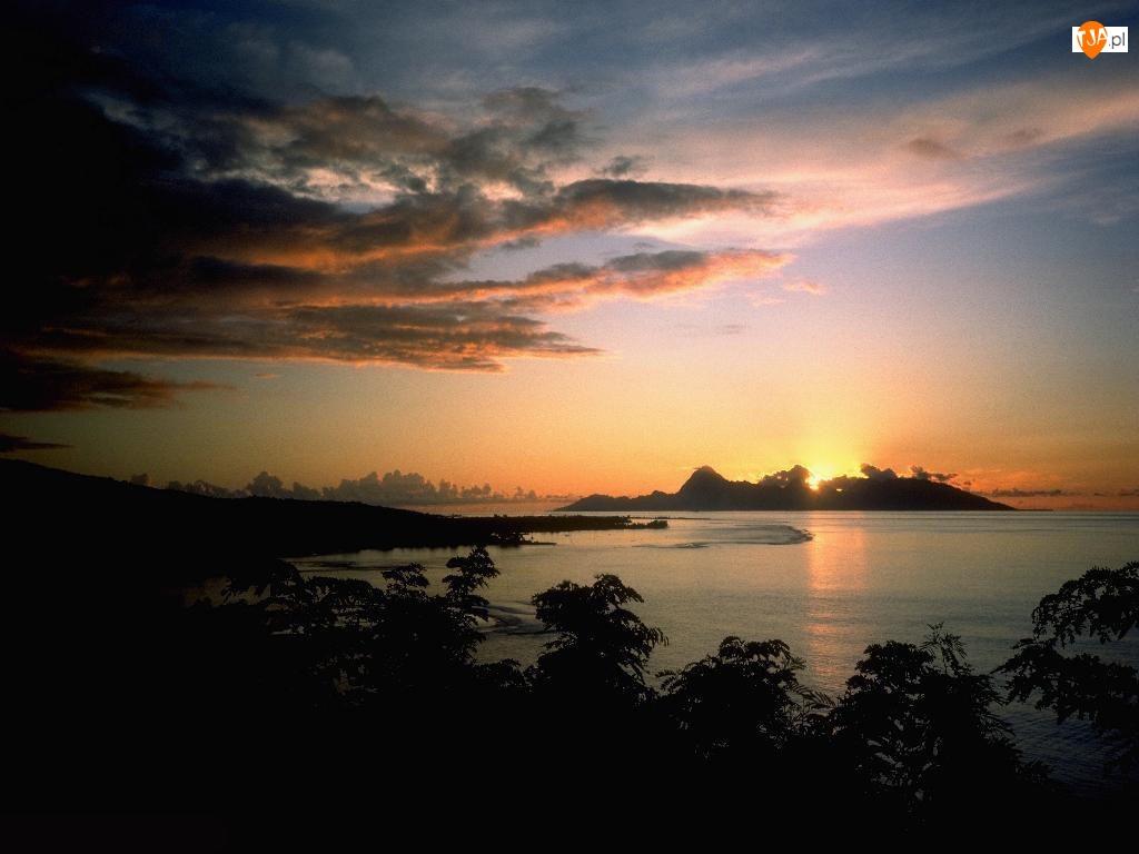 Zatoka, Słońca, Chmury, Zachód