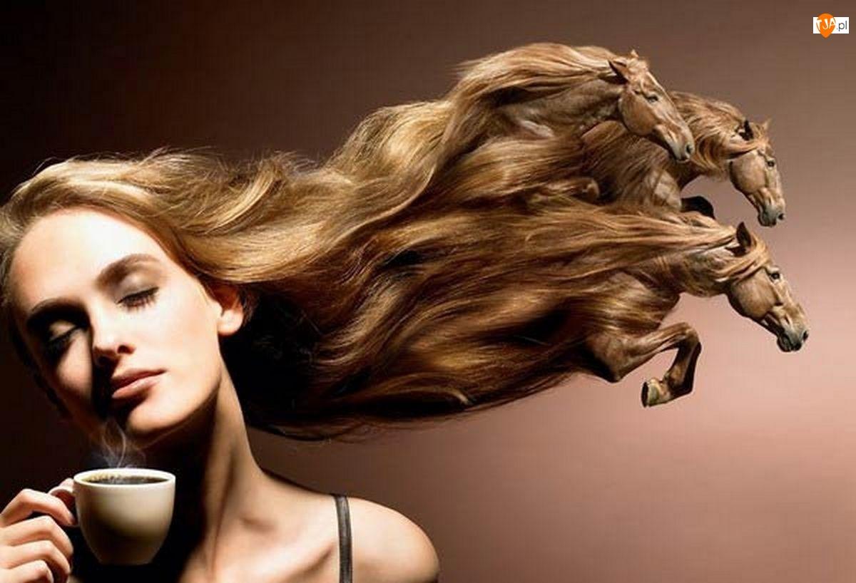Kobieta, Konie, Włosy, Galopujące