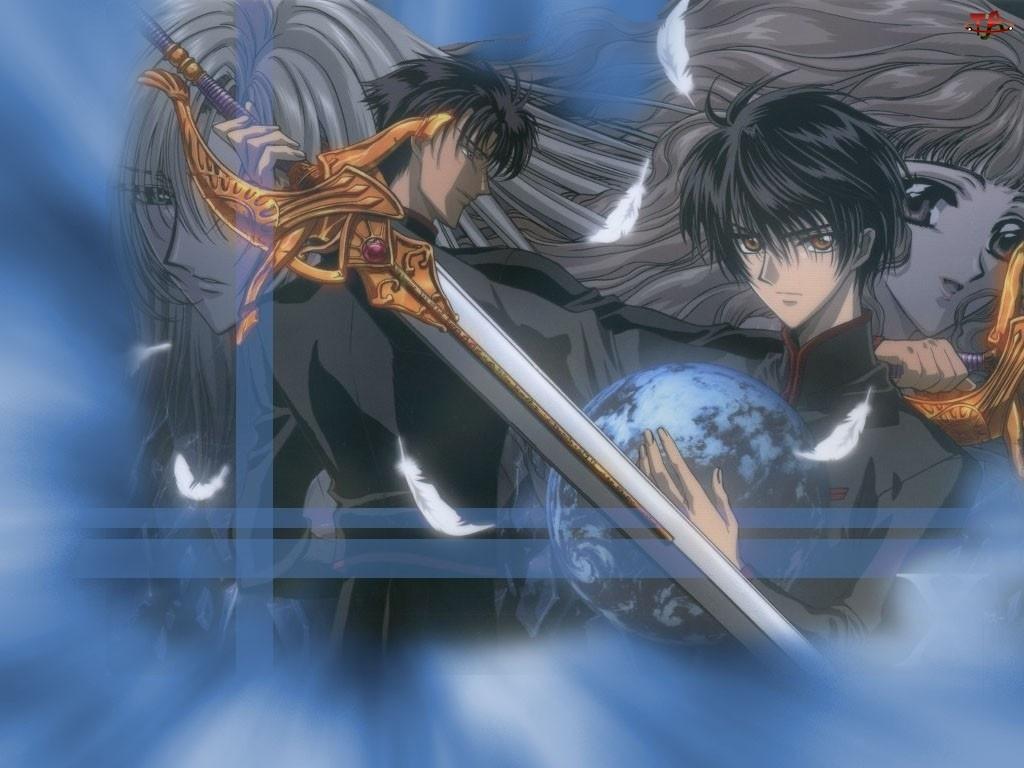 X, miecz, postacie