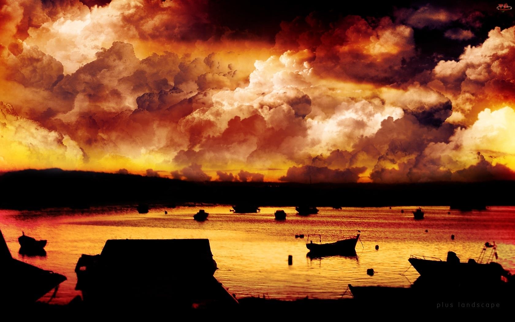 Łódki, Zachód Słońca, Zatoka