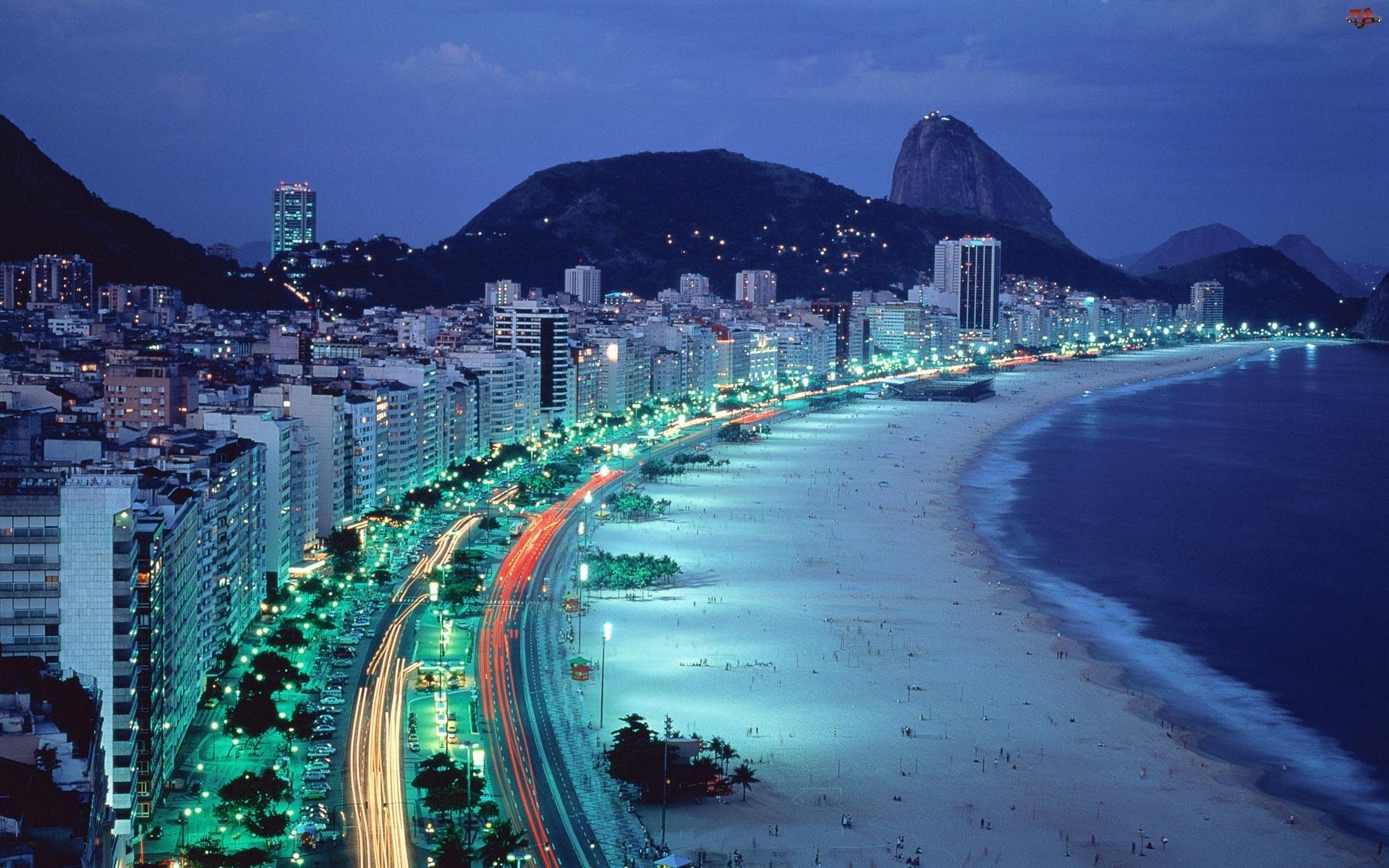 Noc, Wybrzeże, Plaża, Morze, Miasto