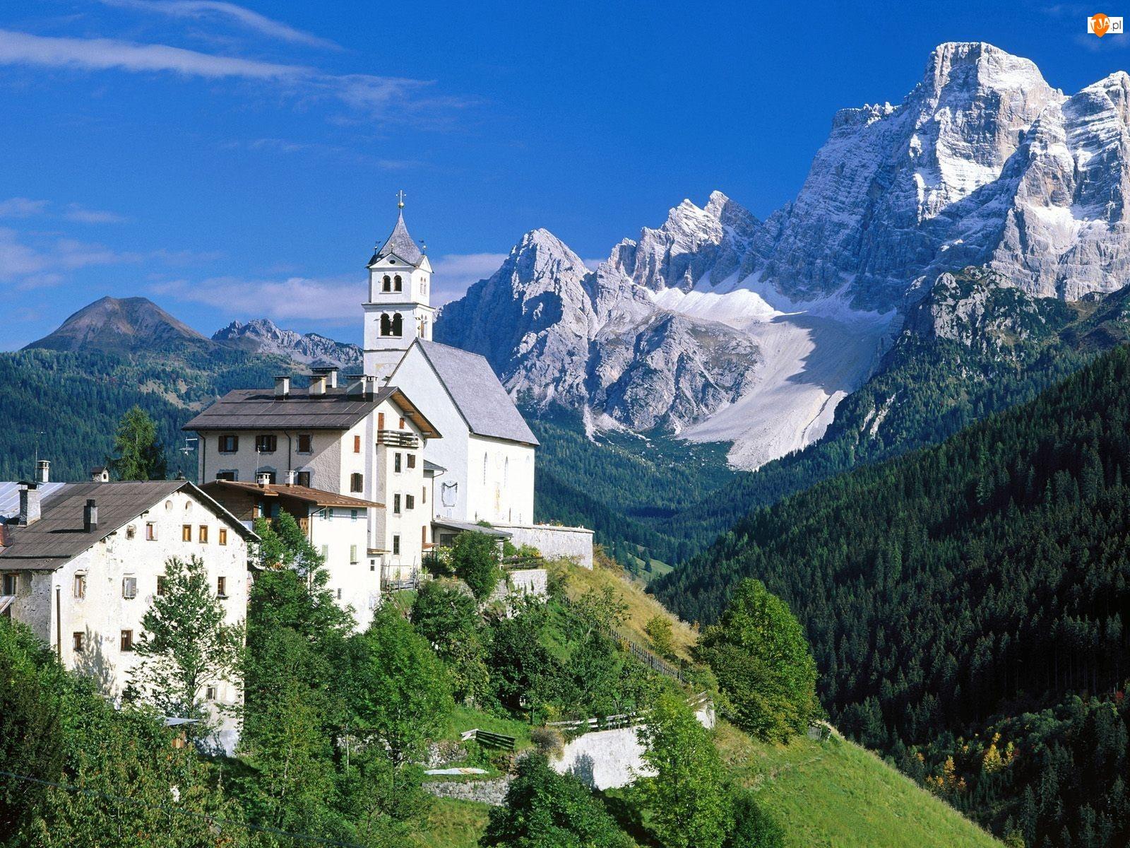 Budowle, Góry, Alpy, Dolomity, Białe