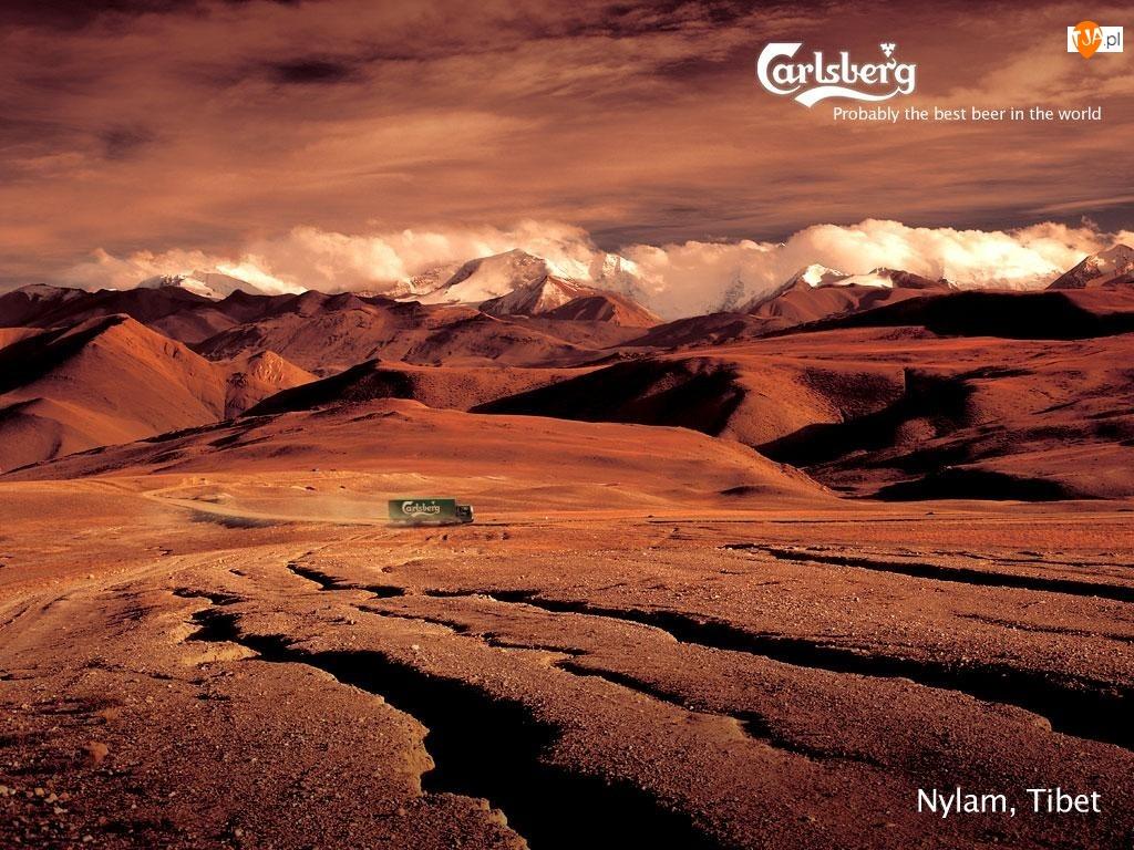 Dostawczy, Tybet, Calsberg, Azja, Samochód, Góry