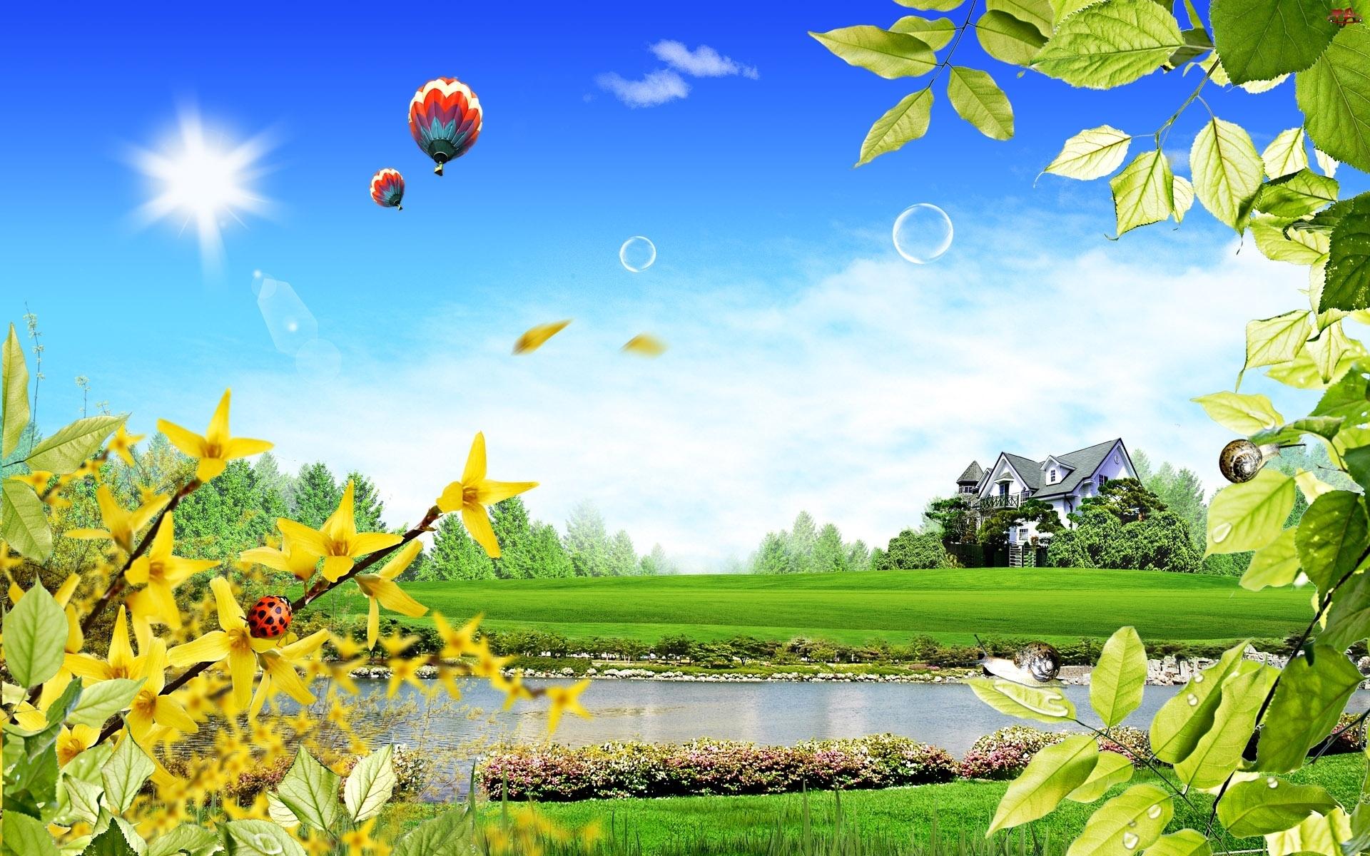 Balony, Wiosenna, Oczko, Zieleń, Wodne