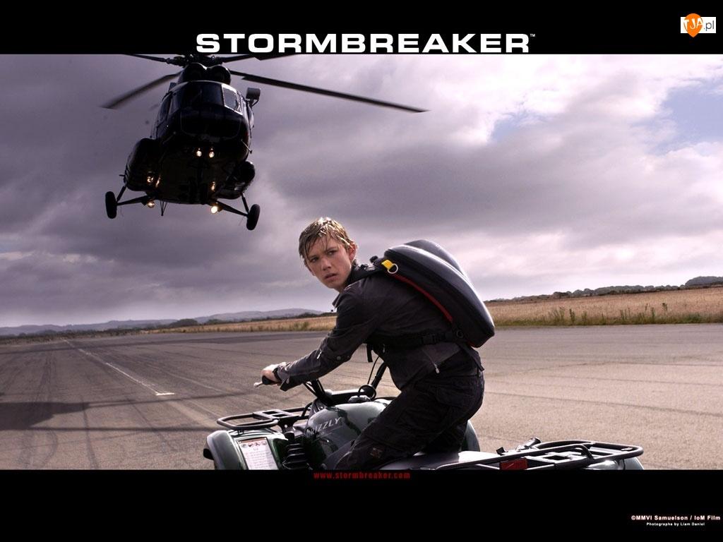 śmigłowiec, ulica, Stormbreaker, niebo, Alex Pettyfer, quad