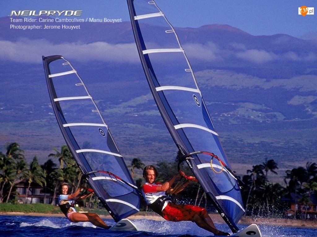 morze, Windsurfing, deska, Krajobraz, żagiel