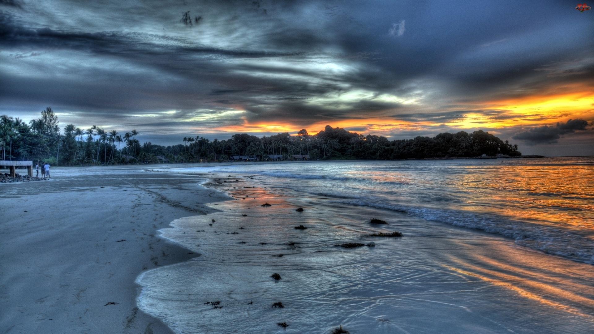 Plaża, Chmury, Morze, Ciemne