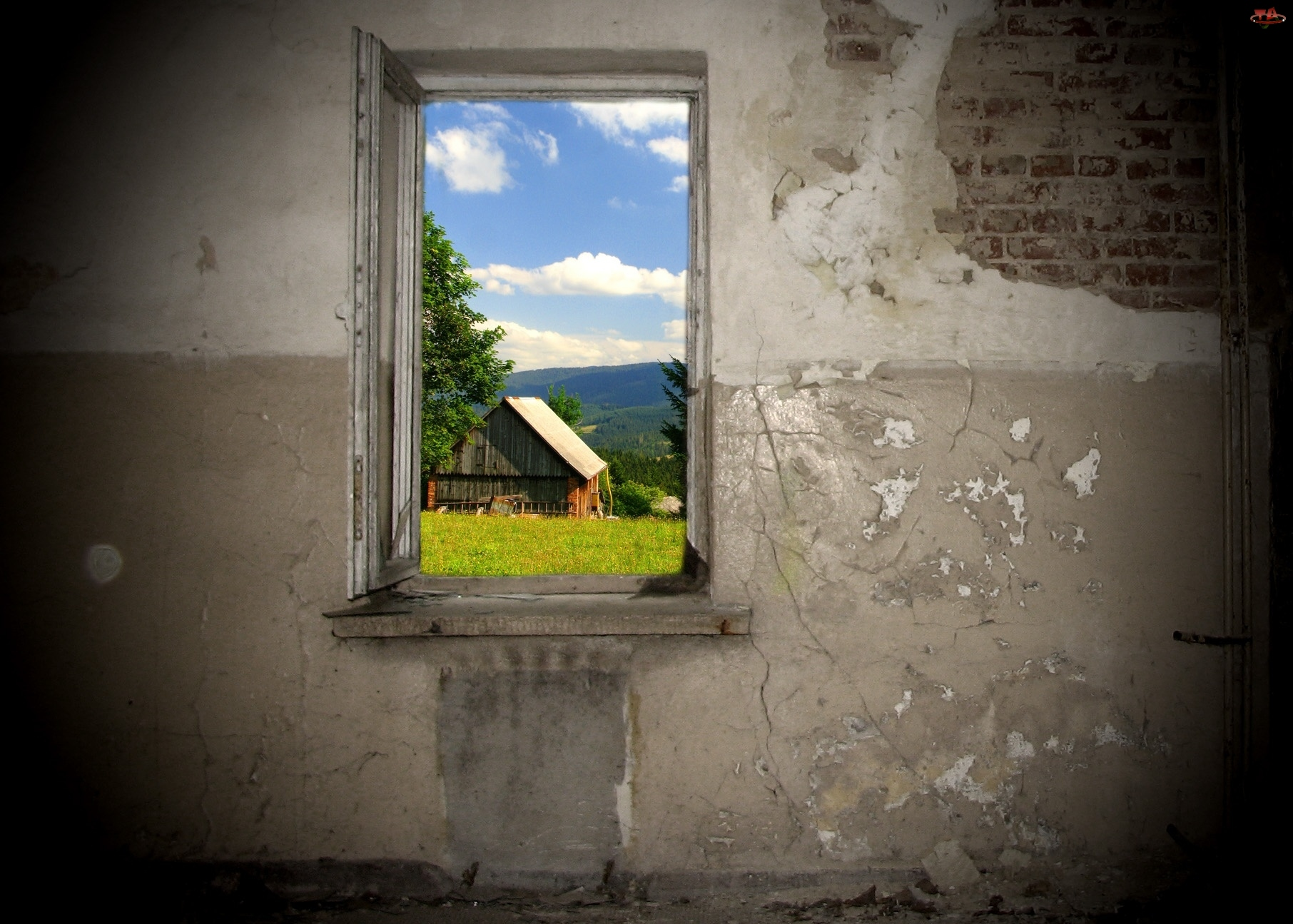 Krajobraz, Dom, Okno