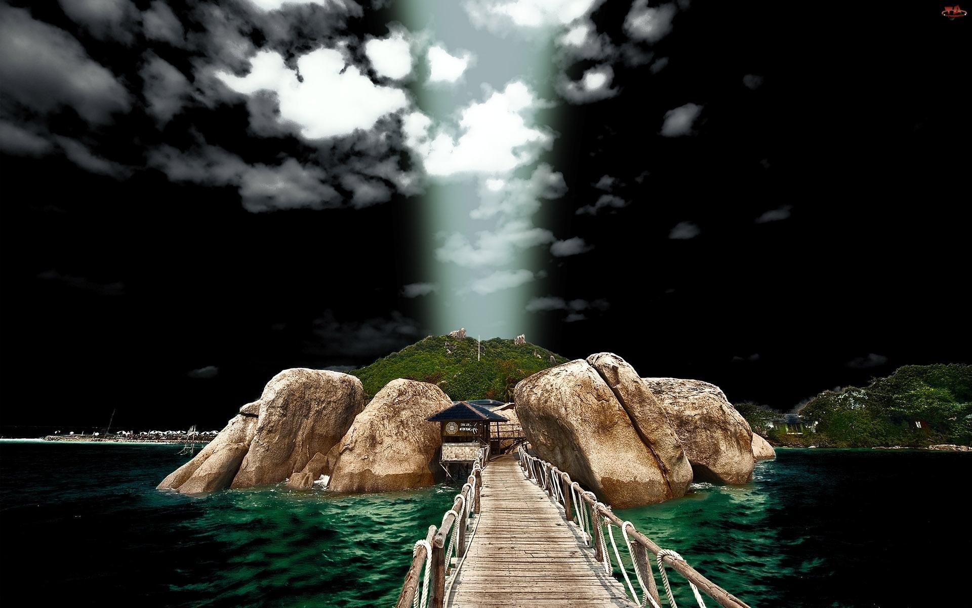 Chmury, Skały, Światło, Mostek, Ciemne