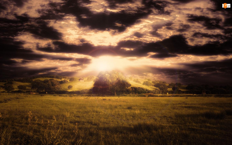 Chmury, Zachód, Słońca