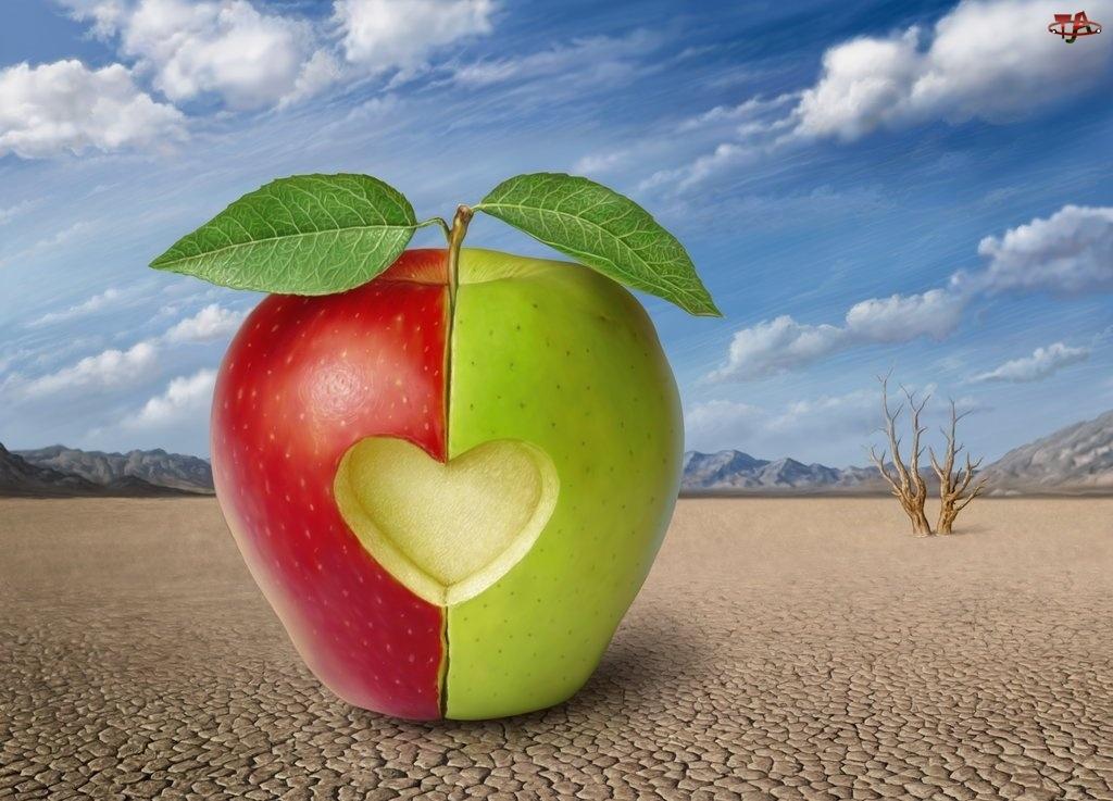 Zielono, Serce, Czerwone, Jabłko