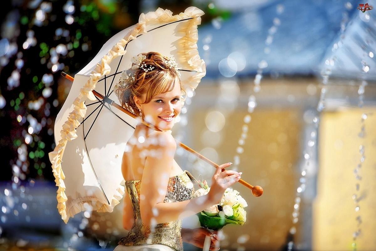 Fontanna, Kobieta, Parasol