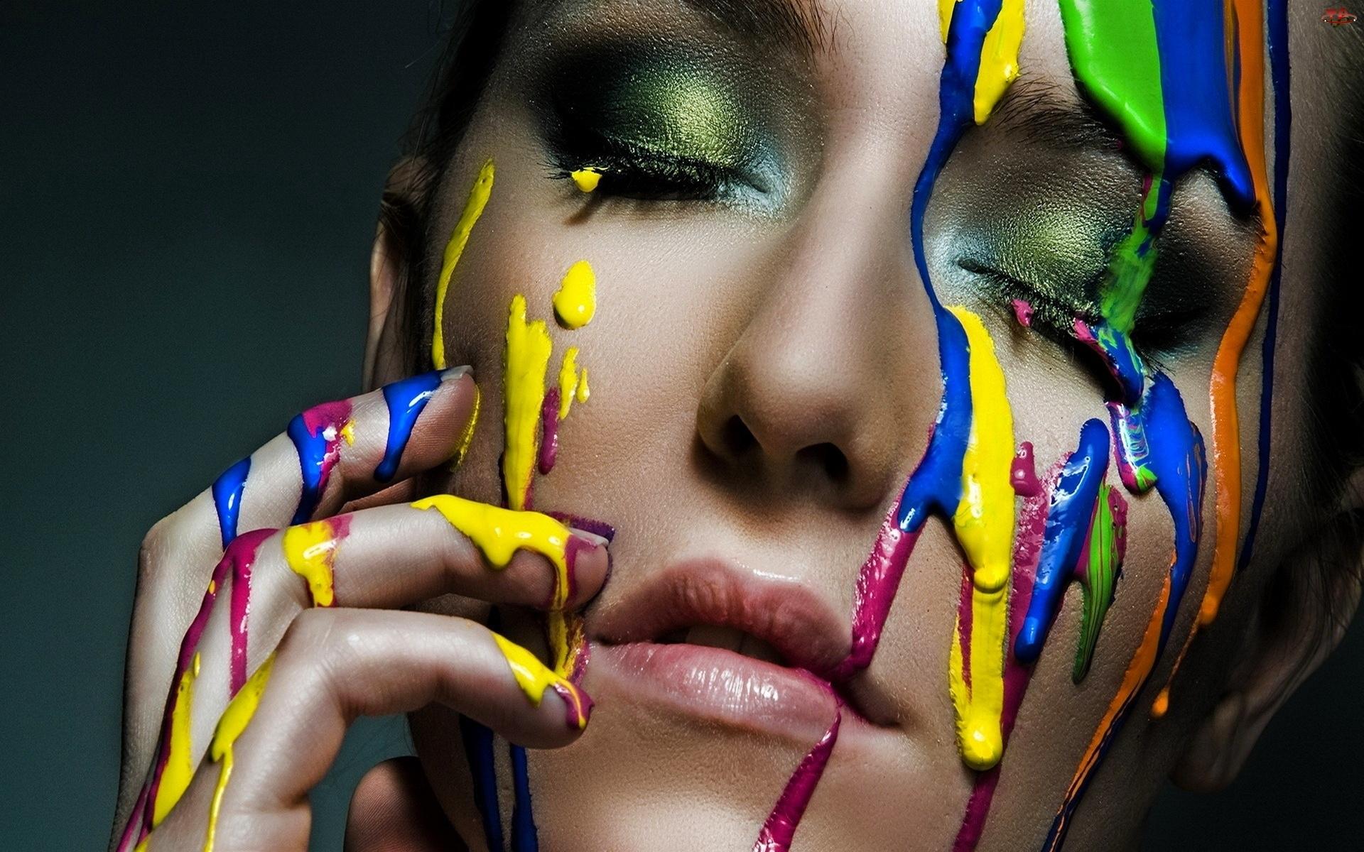 Kobieta, Farbki, Twarz, Kolorowe