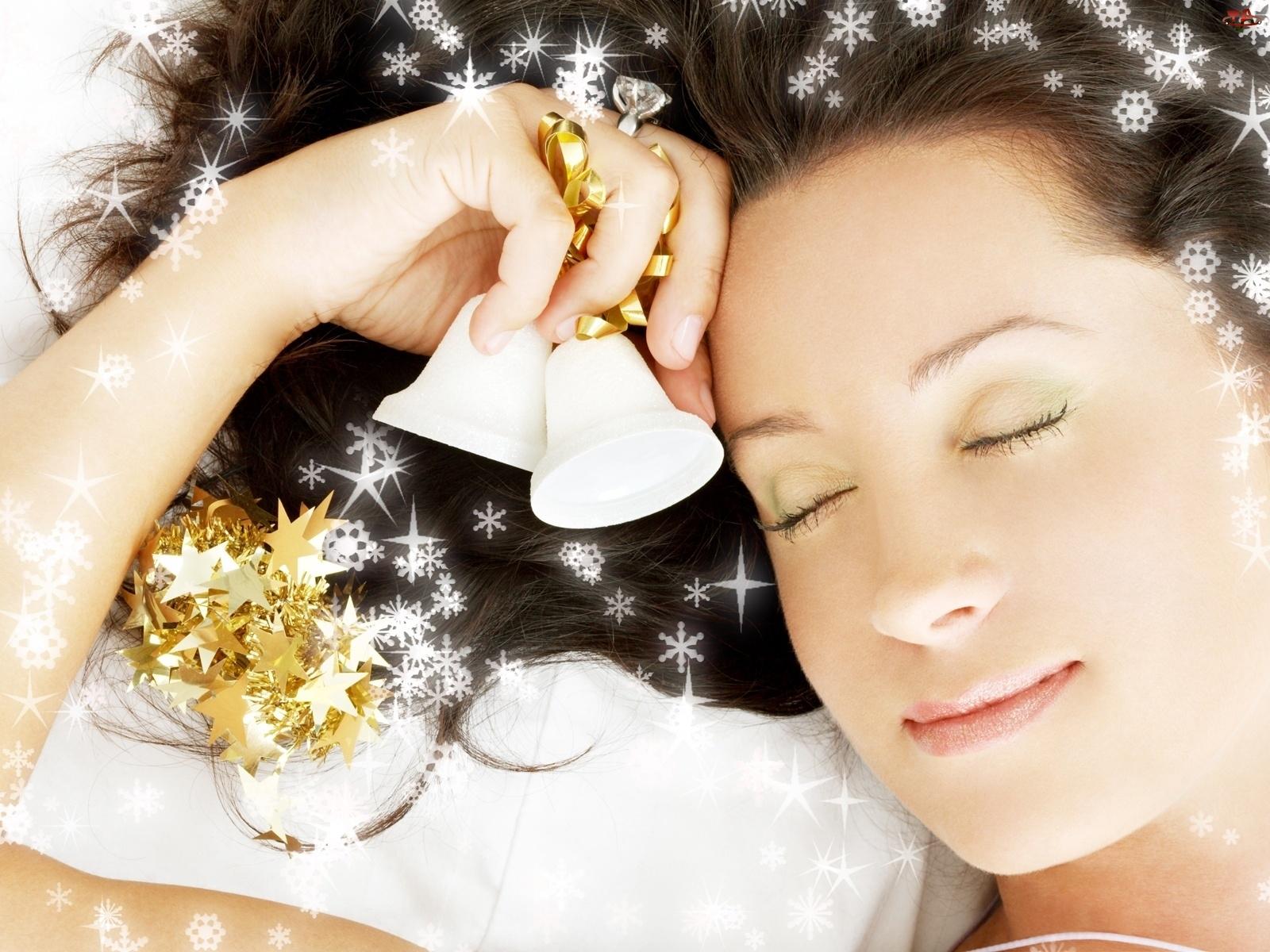 Śpiąca, Gwiazdki, Kobieta, Dzwoneczki