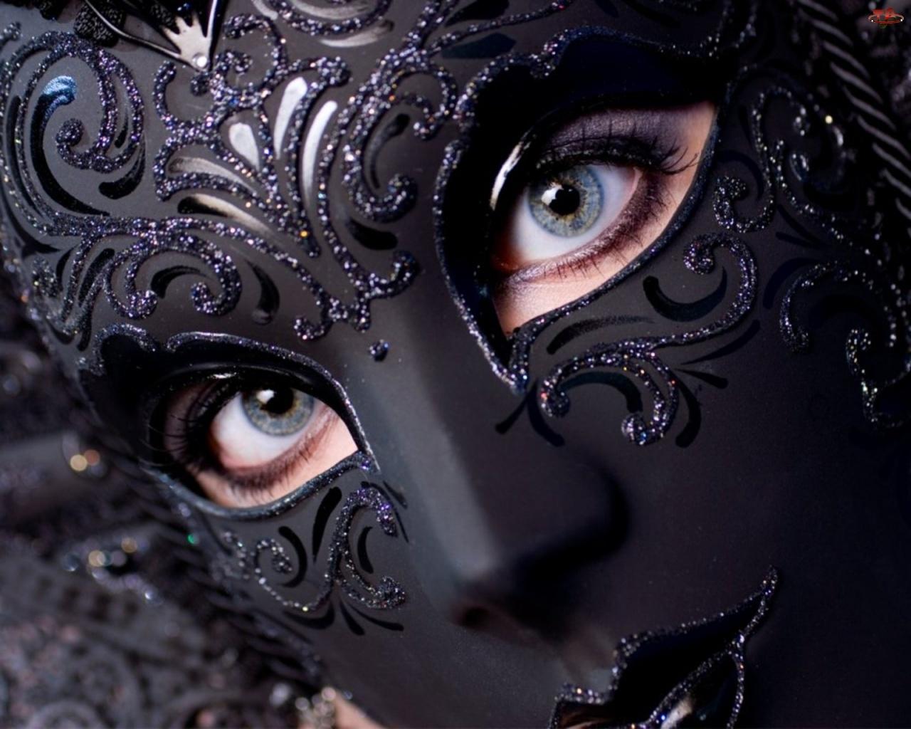 Kobieta, Ciemna, Maska