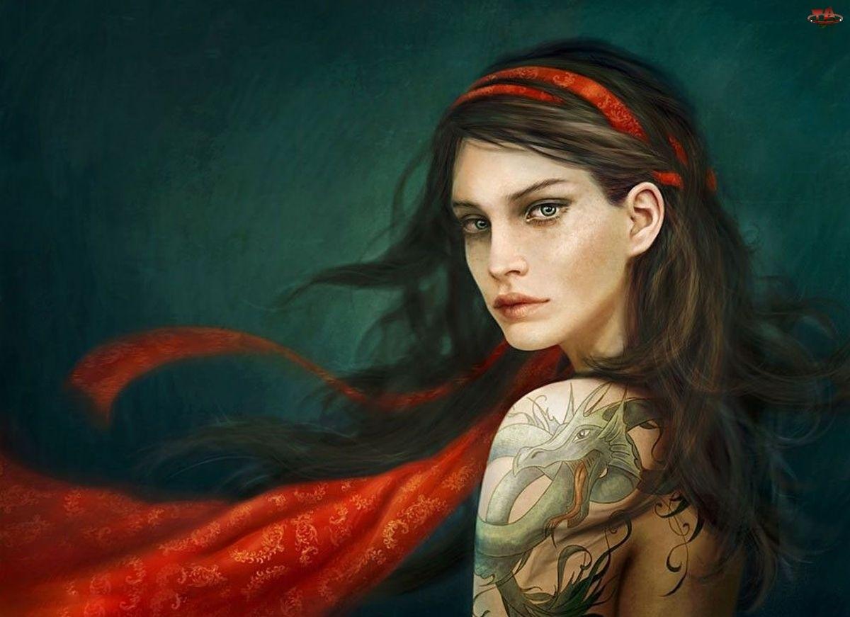 Szal, Kobieta, Tatuaż