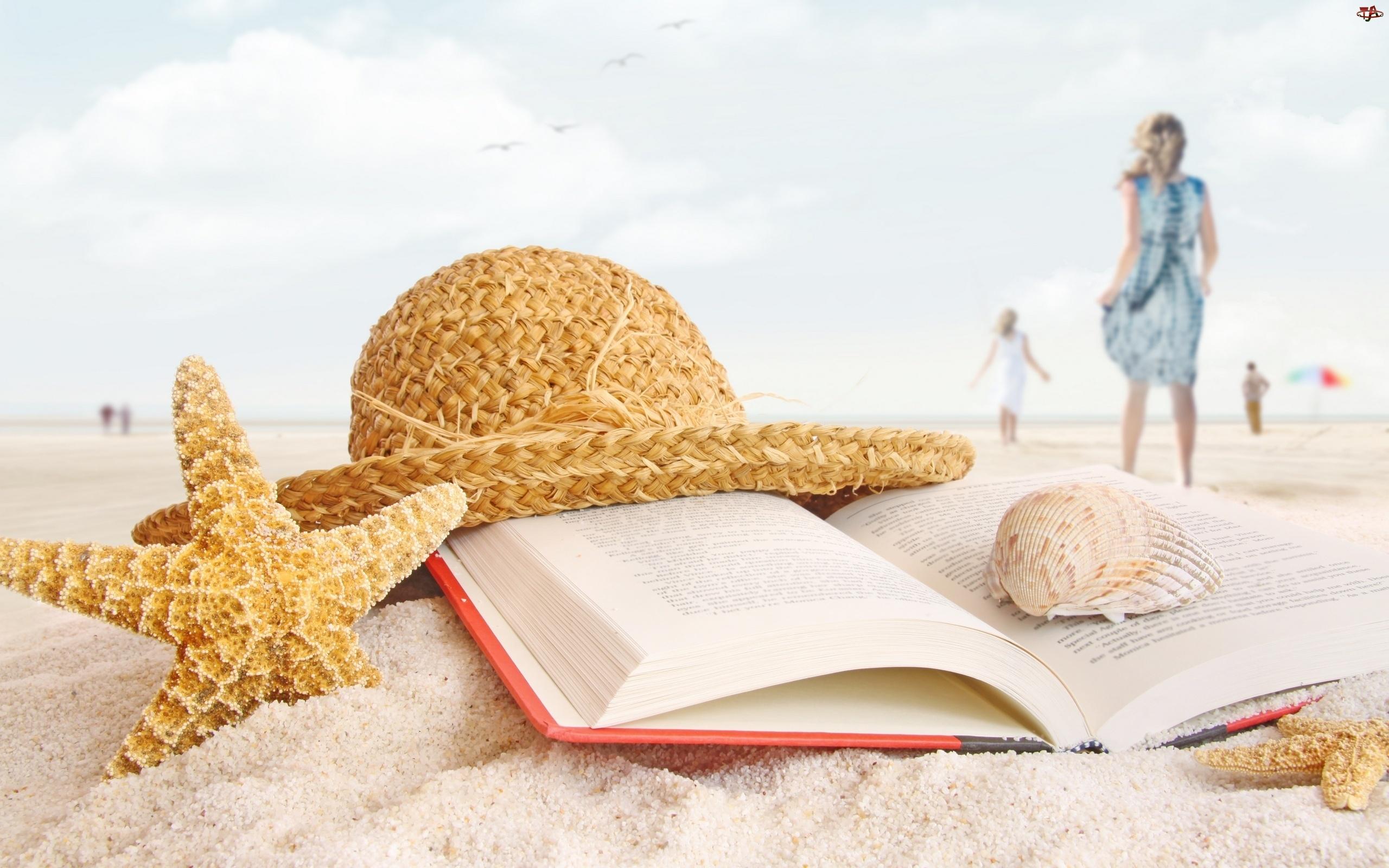Rozgwiazdy, Plaża, Kapelusz, Książka, Muszelki