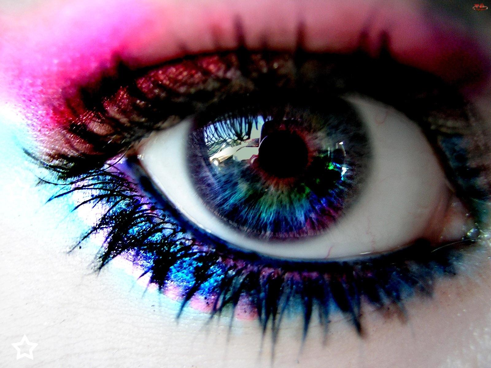 Makijaż, Kolorowe, Oko
