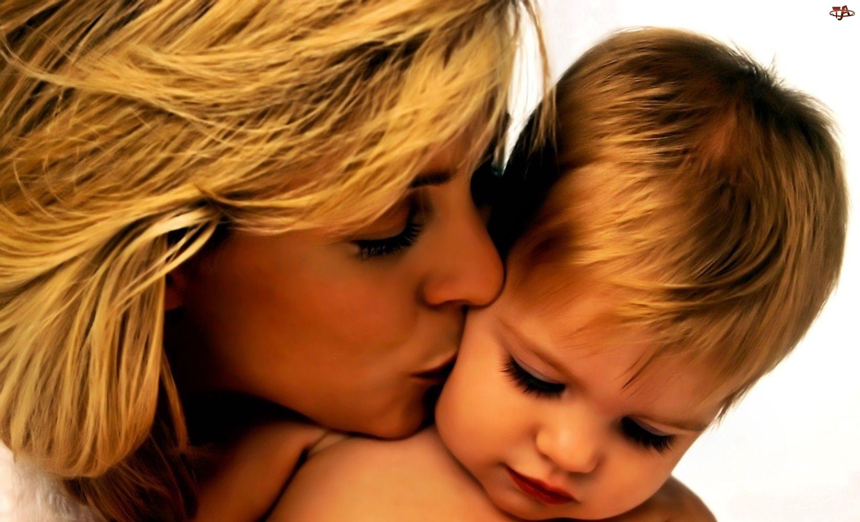 Dziecko, Mama, Całus