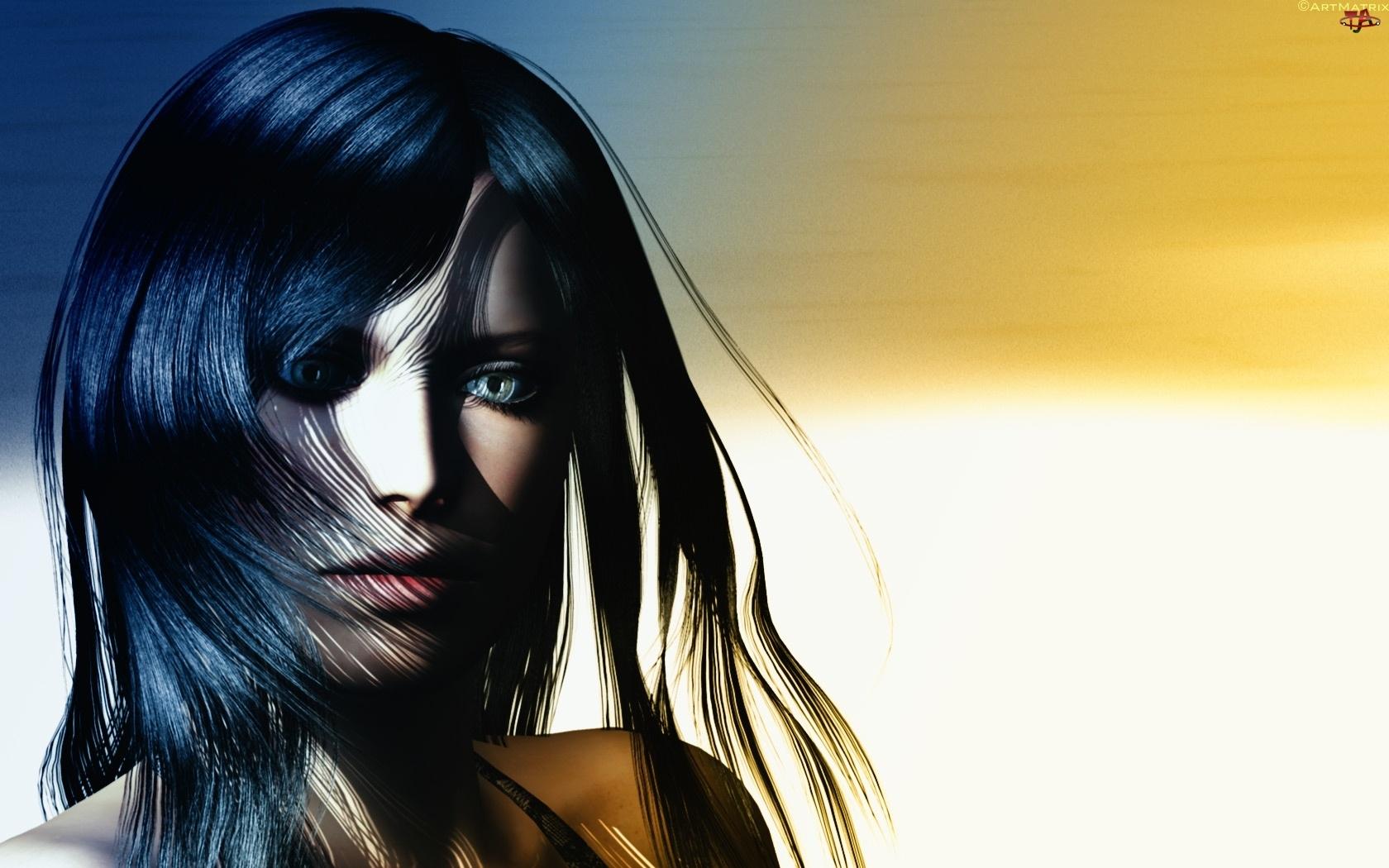 Dziewczyna, Włosach, Wiatr, We