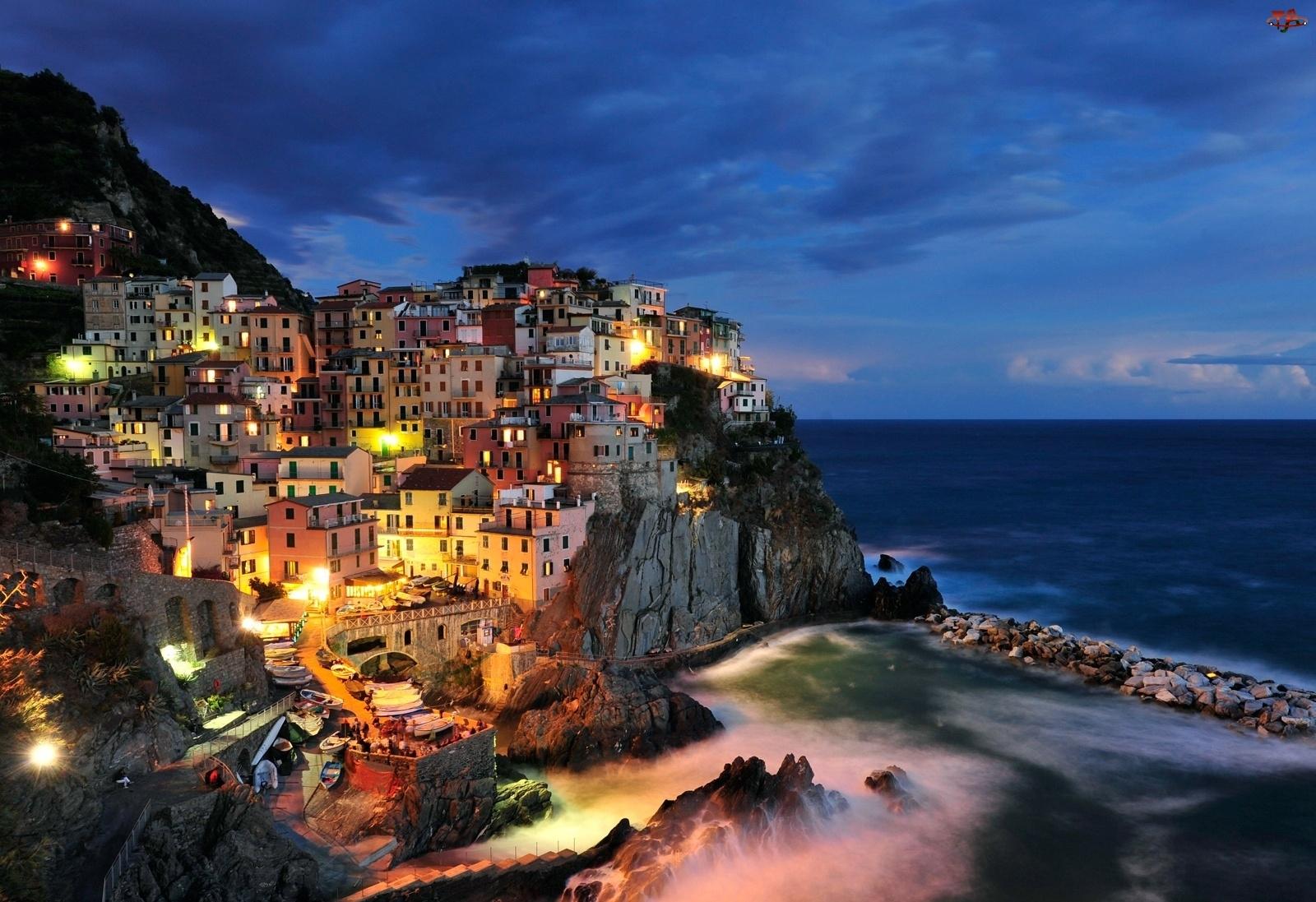 Wioska, Włochy, Manarola, Wybrzeże