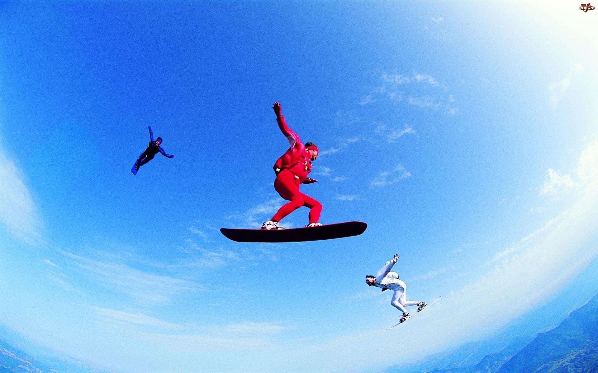Spadochron, Snowboardziści, Skoki