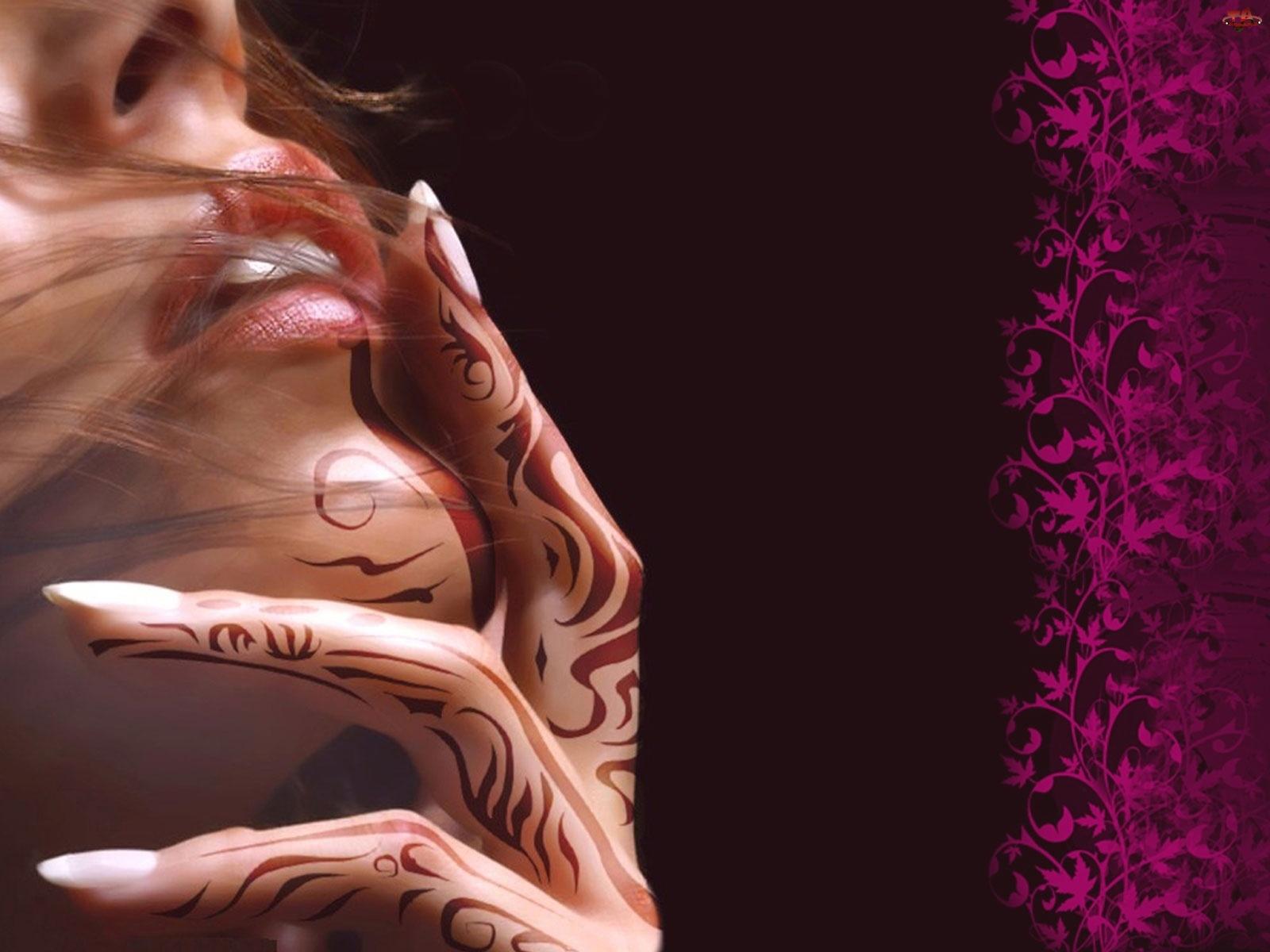 Kobieta, Grafika, Dłoń, Tatuaż