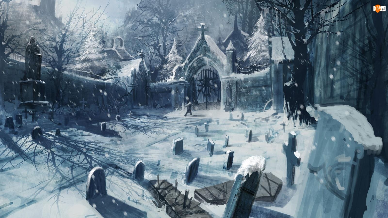 Cmentarz, Zima, Śnieg