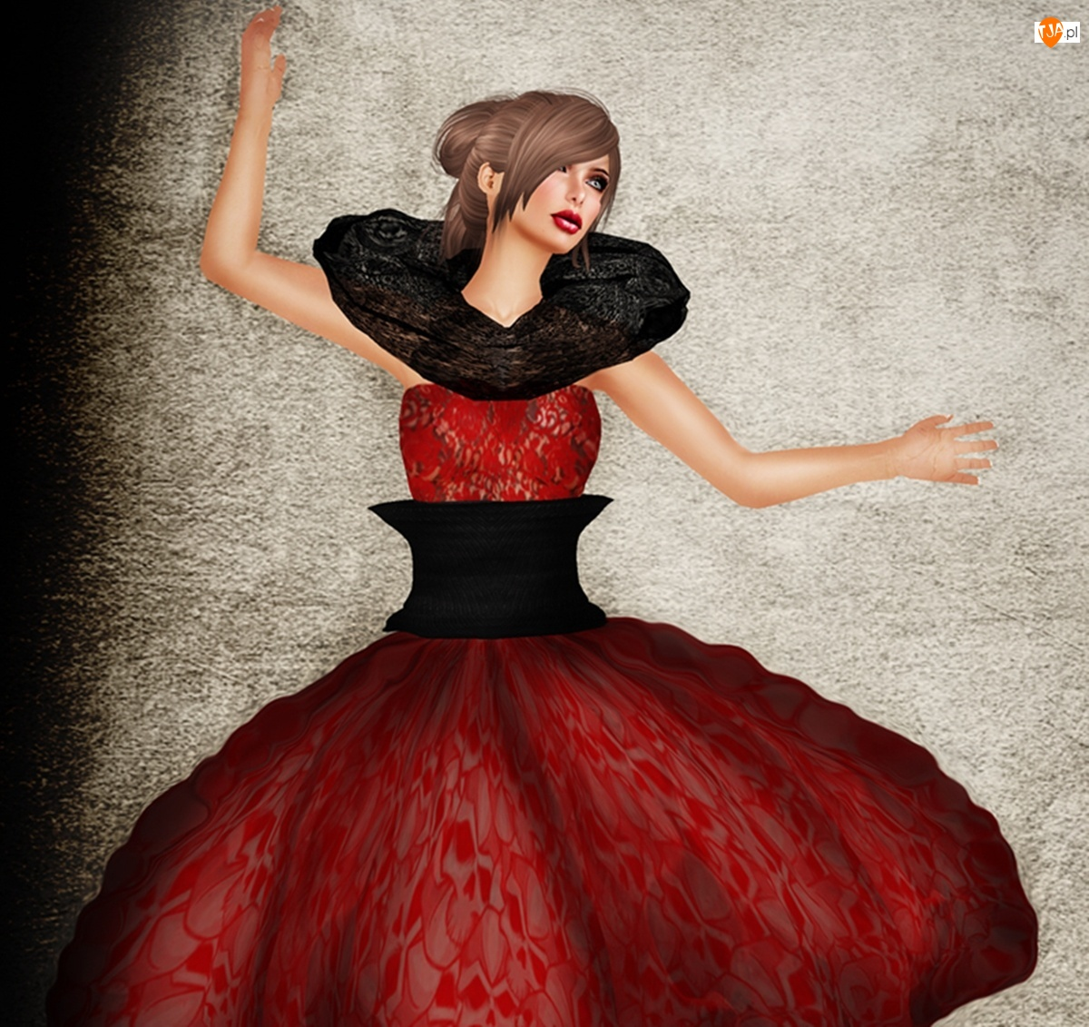 Grafika, Kobieta, Suknia, Czerwona, Taniec