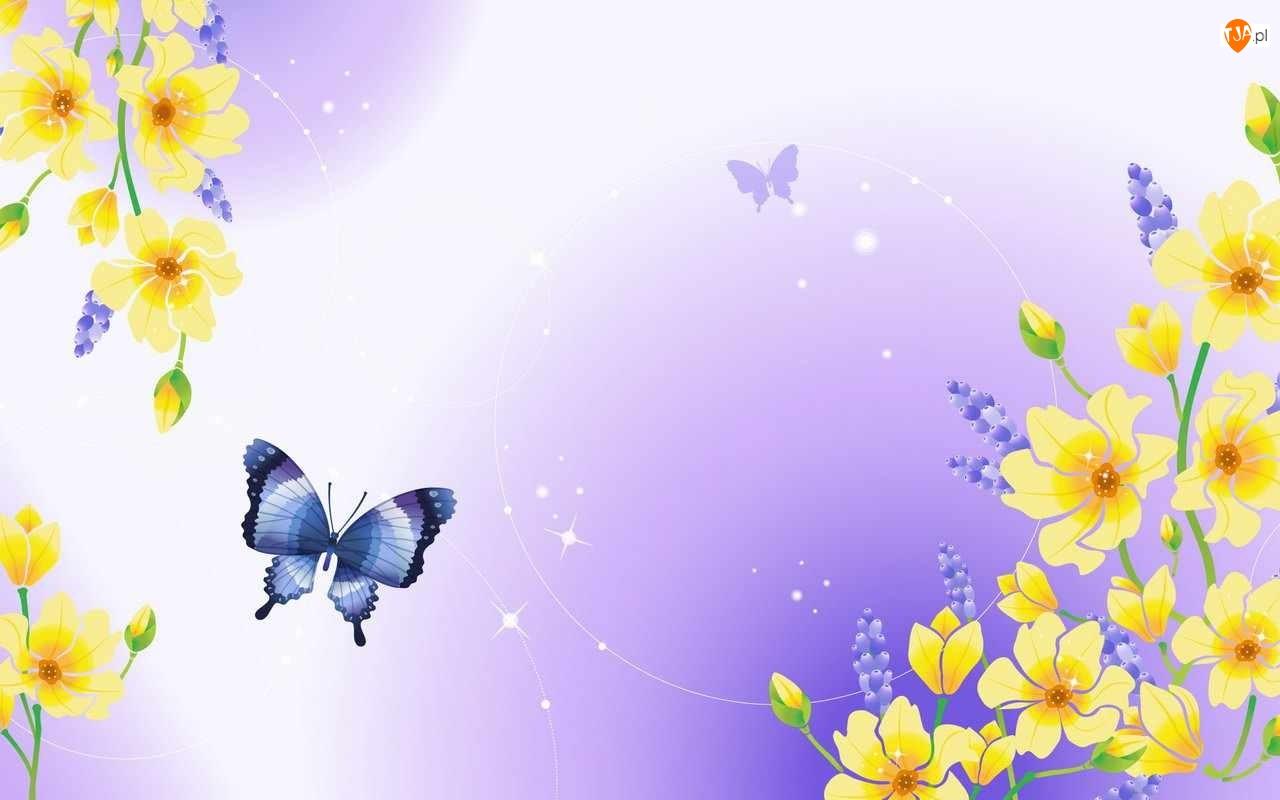 Żółte, Tekstura, Kwiaty, Motyle