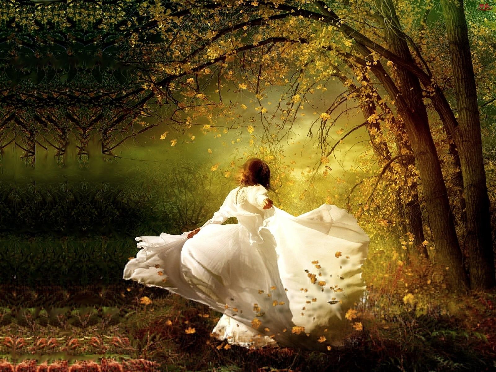 Panna młoda, Kobieta, Suknia, Biała, Drzewa