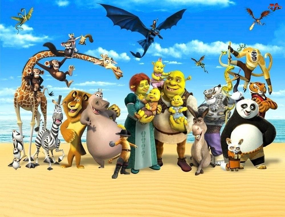 Magadaskar, Bajkowe, Shrek, Postacie, Kung Fu-Panda