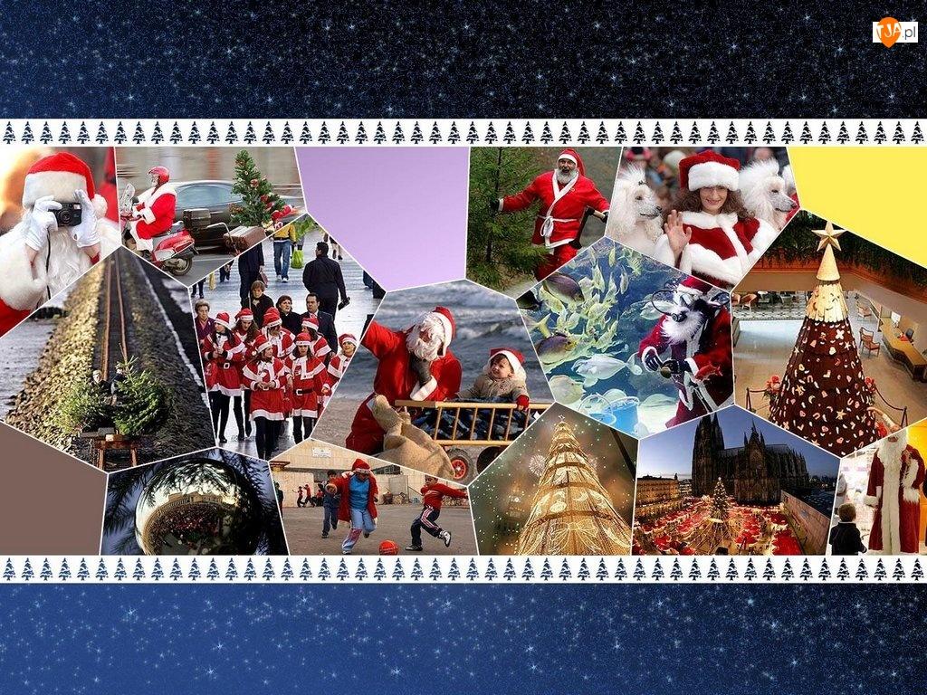 Boże Narodzenie, mikołaj, obrazek, choinka