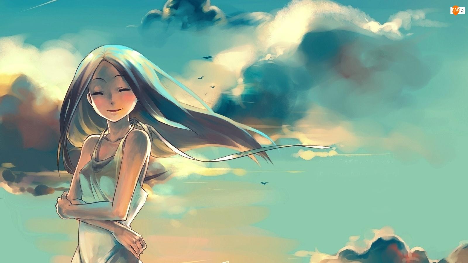 Chmury, Uśmiechnięta, Dziewczyna