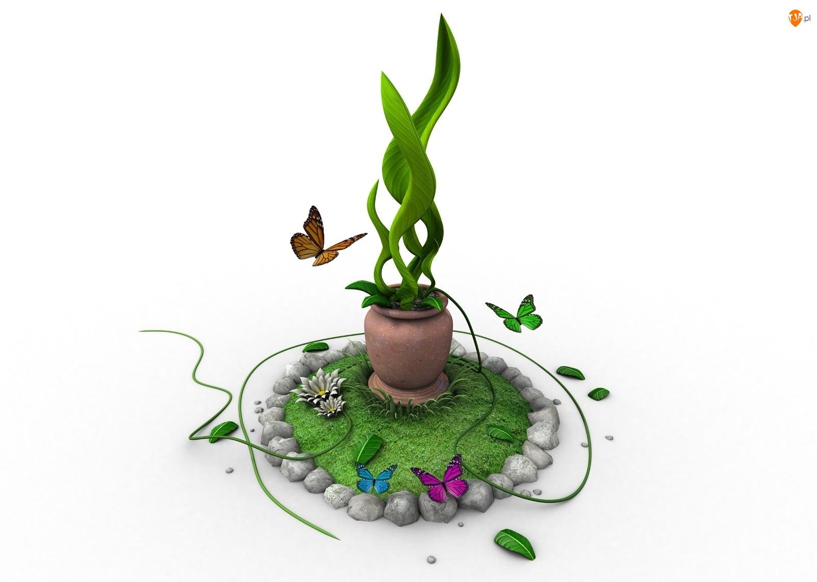 Zielona, Motylki, Roślina, Doniczka